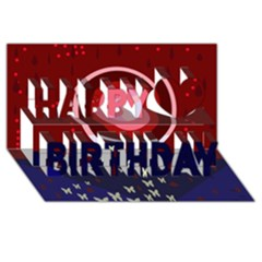 Techno  Happy Birthday 3D Greeting Card (8x4)