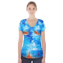 Wild Sea Themes Art Prints Short Sleeve Front Detail Top