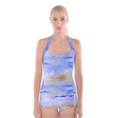 Sea sky print  Boyleg Halter Swimsuit