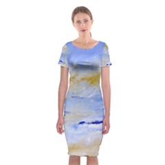 Sea sky print  Classic Short Sleeve Midi Dress