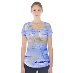 Sea sky print  Short Sleeve Front Detail Top