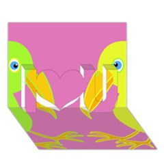 Parrots I Love You 3D Greeting Card (7x5)