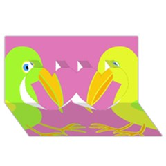 Parrots Twin Hearts 3d Greeting Card (8x4)