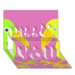 Parrots Miss You 3D Greeting Card (7x5)