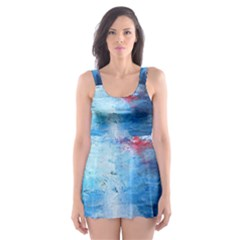 Abstract Blue And White Print  Skater Dress Swimsuit
