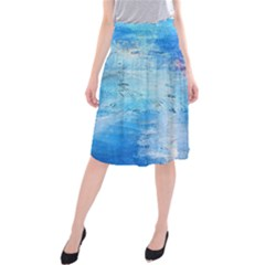 abstract blue and white print  Midi Beach Skirt