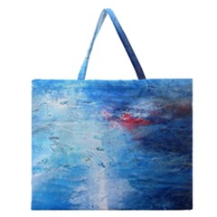 Abstract Blue And White Print  Zipper Large Tote Bag