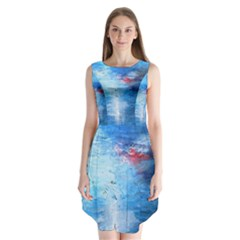 Abstract Blue And White Print  Sleeveless Chiffon Dress