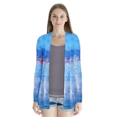 abstract blue and white print  Drape Collar Cardigan