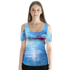 abstract blue and white print  Butterfly Sleeve Cutout Tee