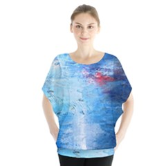 Abstract Blue And White Print  Blouse