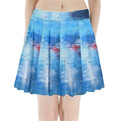 abstract blue and white print  Pleated Mini Skirt