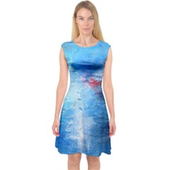 abstract blue and white print  Capsleeve Midi Dress