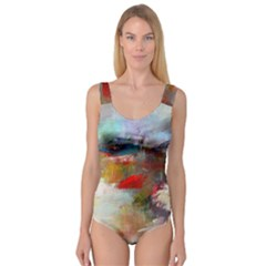 abstract reds and beiges  Princess Tank Leotard