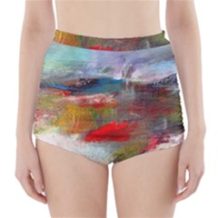 abstract reds and beiges  High-Waisted Bikini Bottoms