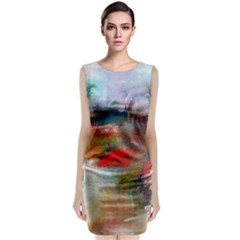 abstract reds and beiges  Classic Sleeveless Midi Dress