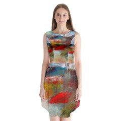 Abstract Reds And Beiges  Sleeveless Chiffon Dress