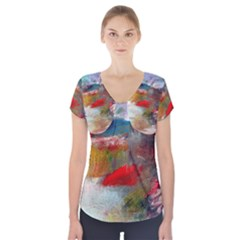 Abstract Reds And Beiges  Short Sleeve Front Detail Top