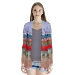 Abstract Reds And Beiges  Drape Collar Cardigan
