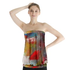 abstract reds and beiges  Strapless Top