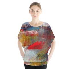 abstract reds and beiges  Blouse