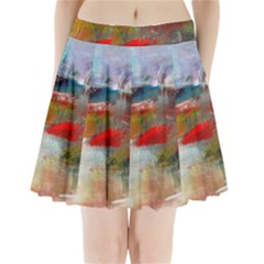 Abstract Reds And Beiges  Pleated Mini Skirt