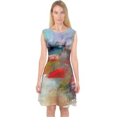 abstract reds and beiges  Capsleeve Midi Dress