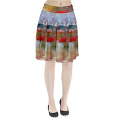 abstract reds and beiges  Pleated Skirt