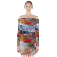 abstract reds and beiges  Long Sleeve Off Shoulder Dress