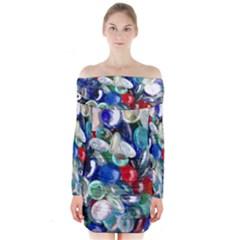 Random Baubles Long Sleeve Off Shoulder Dress