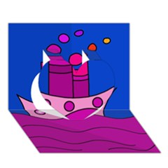 Boat Heart 3D Greeting Card (7x5)