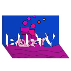 Boat PARTY 3D Greeting Card (8x4)