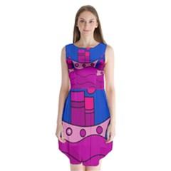 Boat Sleeveless Chiffon Dress