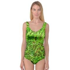 Natures Grass And Shamrock Print  Princess Tank Leotard