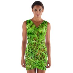 Natures Grass And Shamrock Print  Wrap Front Bodycon Dress