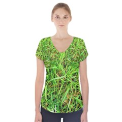 Natures grass and shamrock print  Short Sleeve Front Detail Top