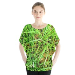 Natures Grass And Shamrock Print  Blouse