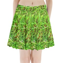 Natures grass and shamrock print  Pleated Mini Skirt