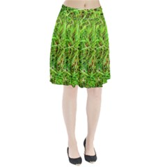 Natures grass and shamrock print  Pleated Skirt