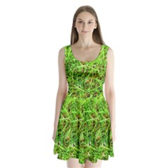 Natures Grass And Shamrock Print  Split Back Mini Dress
