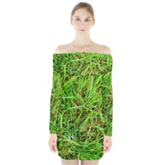 Natures Grass And Shamrock Print  Long Sleeve Off Shoulder Dress