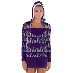 Cute Cactus Blossom Women s Long Sleeve Hooded T-shirt