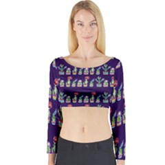 Cute Cactus Blossom Long Sleeve Crop Top (tight Fit)