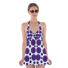 Shimmering Floral Abstracte Halter Swimsuit Dress