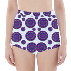 Shimmering Floral Abstracte High-Waisted Bikini Bottoms