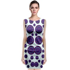 Shimmering Floral Abstracte Classic Sleeveless Midi Dress