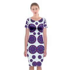 Shimmering Floral Abstracte Classic Short Sleeve Midi Dress