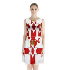 Ulster Banner Sleeveless Chiffon Waist Tie Dress