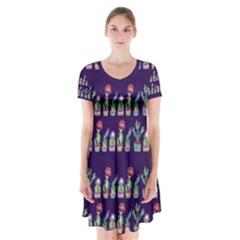 Cute Cactus Blossom Short Sleeve V Neck Flare Dress