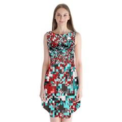 Pixelated 3 Sleeveless Chiffon Dress